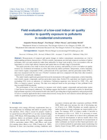 Field Evaluation Of A Low Cost Indoor Air Quality Monitor To Quantify Exposure To Pollutants In Residential Environments